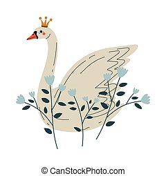 Beautiful White Swan Princess with Golden Crown and Flowers, Lovely Fairytale Bird Vector Illustration
