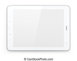 Beautiful white tablet pc on white background -...
