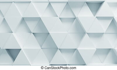 Beautiful White Triangles on Surface Moving in Seamless 3d Animation. Abstract Motion Design Background. Computer Generated Process. 4k Ultra HD 3840x2160.