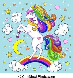 Beautiful white unicorn on a rainbow. Children's illustration. Vector