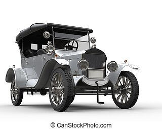 Beautiful white vintage cabriolet car