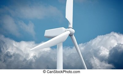 Beautiful white windmill on blue sky background