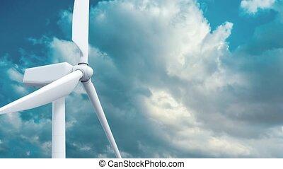 Beautiful white windmill on blue sky background