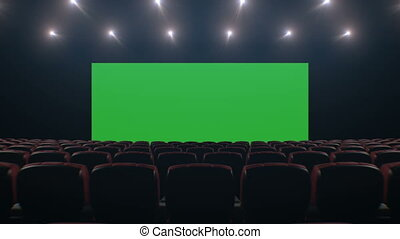 Beautiful Wide Screen in Cinema Hall. Moving Through Over...