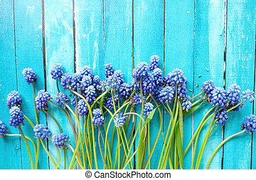 Beautiful wild blue flowers on a wooden background