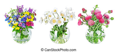 Beautiful Wild flowers bouquet in vase isolated on white