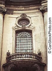 Beautiful window with balcony. Lviv, Ukraine
