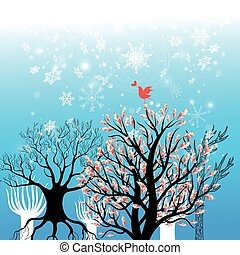 Beautiful winter background with trees and snowflakes
