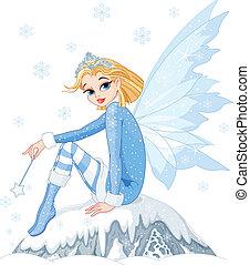 Winter fairy - Beautiful Winter fairy sitting on ice rock