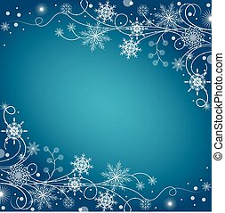 Beautiful winter frame made of snowflakes on blue...