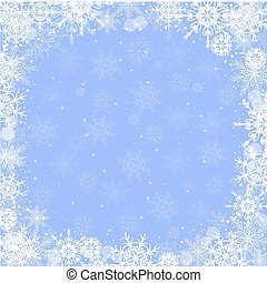 Beautiful winter frame made of snowflakes