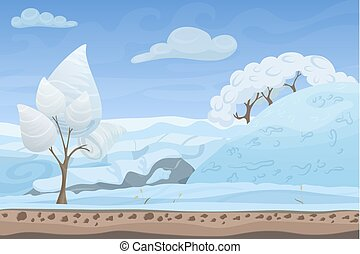 Beautiful winter game style flat landscape background. Christmas forest woods with hills and mountains.