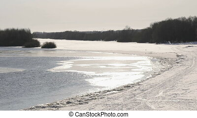 Cold icy water in river at sunny cold winter day - Beautiful...