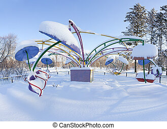 Beautiful winter landscape in the city park
