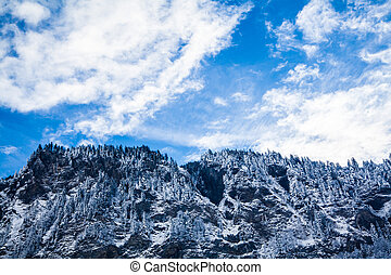 Beautiful winter landscape in the mountains. Mountain area in the Alps