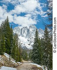 Beautiful winter landscape of Alpine mountains
