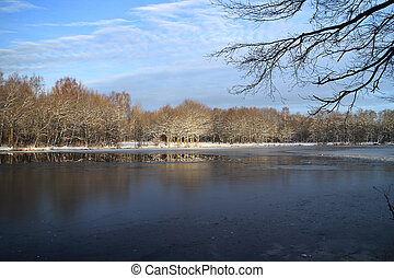 winter landscape the river is icebound