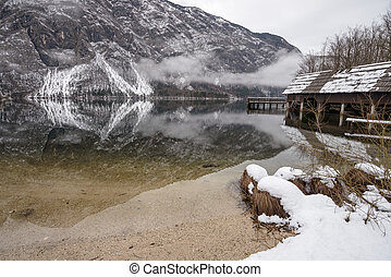 Beautiful winter landscape with a lake