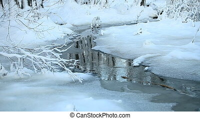 landscape with a snowy stream