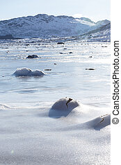 beautiful winter landscape with frozen  sea