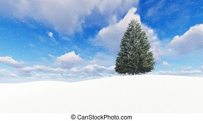 Beautiful winter landscape with snow tree