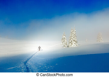 Beautiful winter mountain landscape and snowy with skier.