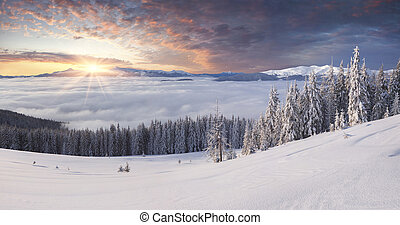 Beautiful winter mountains in the morning mist