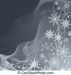 Beautiful winter pattern made of snowflakes on gray background