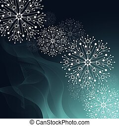 Beautiful winter pattern made of snowflakes on green background