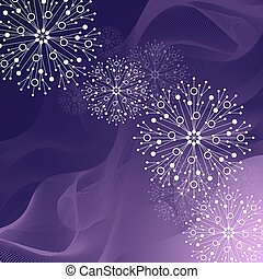 Beautiful winter pattern made of snowflakes on violet background
