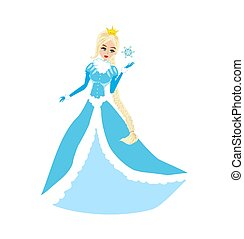 beautiful winter princess catching a snowflake