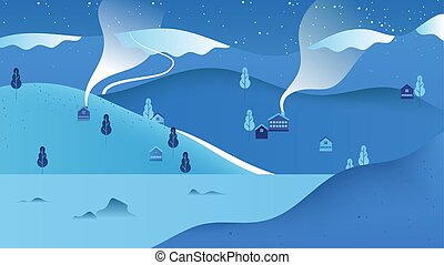 Beautiful winter scenery landscape, small village located on the mountain with lake, cool blue tone