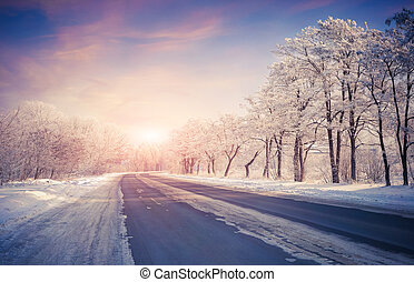 Beautiful winter sunrise on the highway