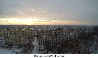 Beautiful winter sunrise over Dnepr. Timelapse.