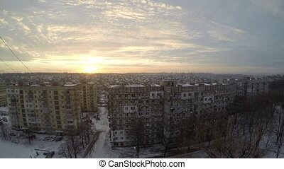 Beautiful winter sunrise over Dnepr. Timelapse.