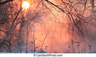 beautiful winter sunrise over the river with a fog , wildlife, winter period