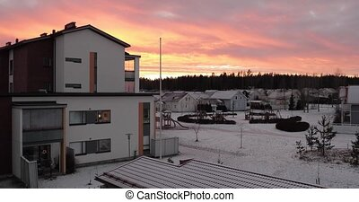 Beautiful winter sunset Finland Kerava.