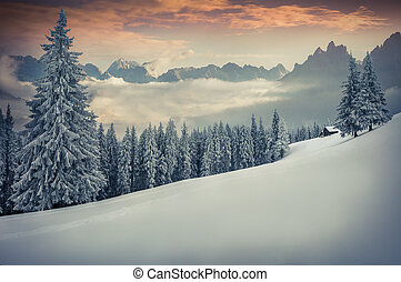 Beautiful winter sunset in the mountains.