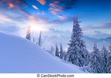 Beautiful winter sunset in the mountains. Sunrise