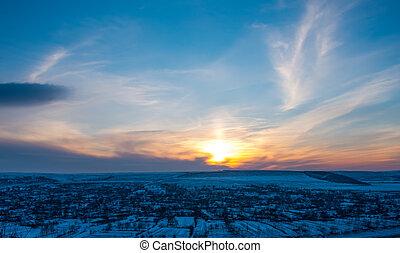 Beautiful winter sunset landscape
