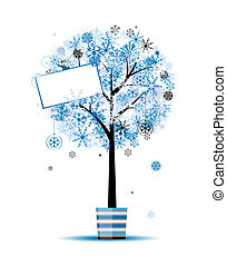 Beautiful winter tree in pot for your design