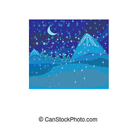 Beautiful wintry landscape with night sky, mountains and light moon