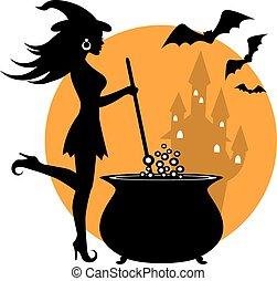 beautiful witch and cauldron