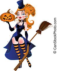 beautiful witch and pumpkin
