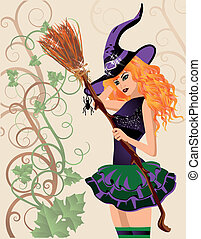 Beautiful witch and spider