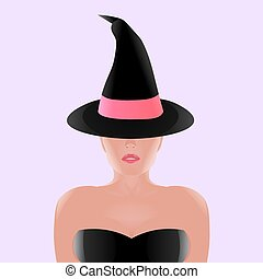 Beautiful witch in black hat with pink ribbon, realistic...