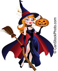 beautiful witch in cloak with a pumpkin