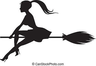 Beautiful witch on a broomstick