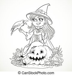 Beautiful Witch Sitting On A Pumpkin And Talks To The Black