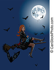 Beautiful witch sitting on broom on full moon background...